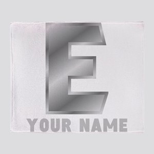 Custom Silver Letter E Throw Blanket