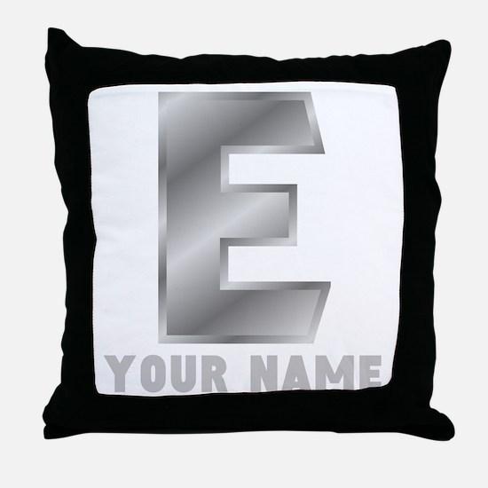 Custom Silver Letter E Throw Pillow