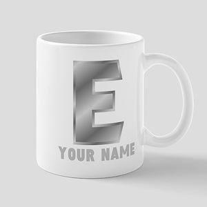 Custom Silver Letter E Mugs