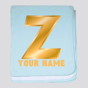 Custom Gold Letter Z baby blanket