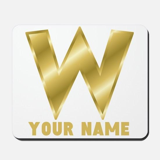 Custom Gold Letter W Mousepad