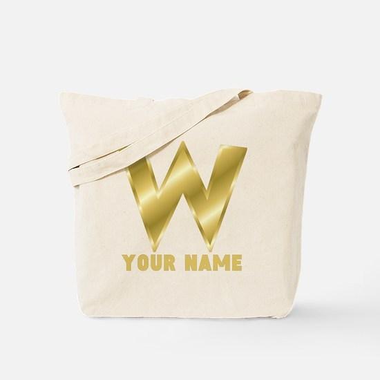 Custom Gold Letter W Tote Bag