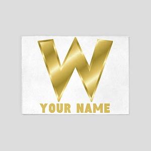Custom Gold Letter W 5'x7'Area Rug