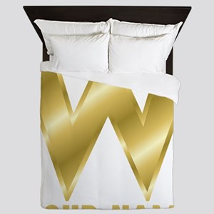 Custom Gold Letter W Queen Duvet