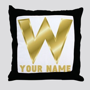 Custom Gold Letter W Throw Pillow