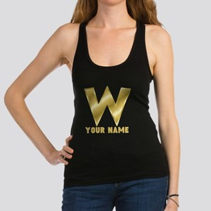Custom Gold Letter W Racerback Tank Top