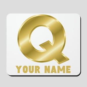 Custom Gold Letter Q Mousepad