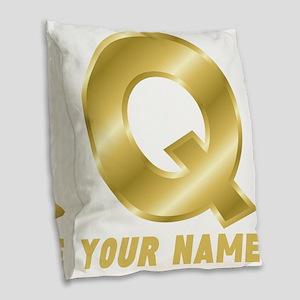 Custom Gold Letter Q Burlap Throw Pillow