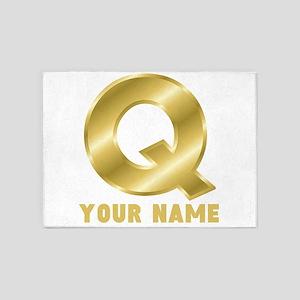 Custom Gold Letter Q 5'x7'Area Rug