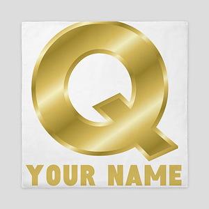 Custom Gold Letter Q Queen Duvet