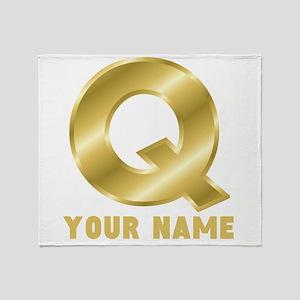 Custom Gold Letter Q Throw Blanket