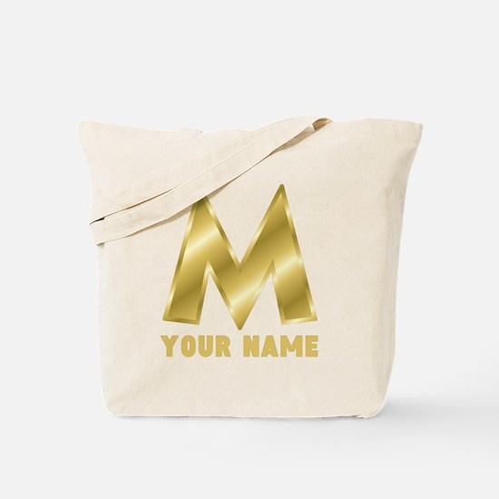 Custom Gold Letter M Tote Bag