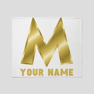 Custom Gold Letter M Throw Blanket