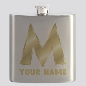 Custom Gold Letter M Flask