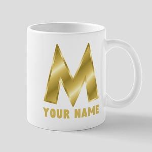 Custom Gold Letter M Mugs