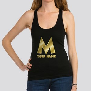 Custom Gold Letter M Racerback Tank Top