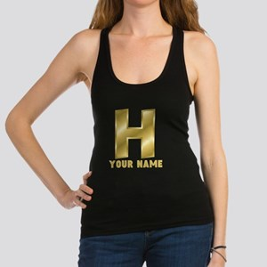 Custom Gold Letter H Racerback Tank Top