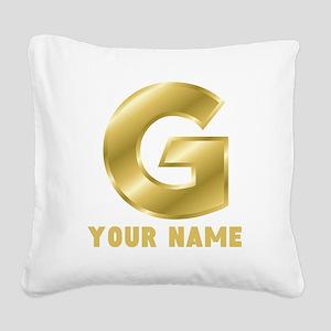 Custom Gold Letter G Square Canvas Pillow