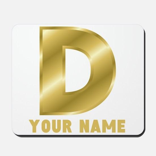 Custom Gold Letter D Mousepad