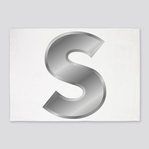 Silver Letter S 5'x7'Area Rug