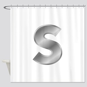 Silver Letter S Shower Curtain