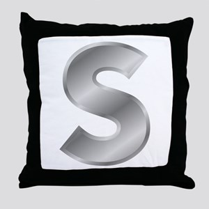 Silver Letter S Throw Pillow