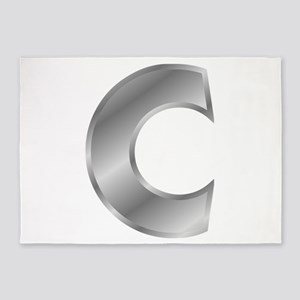 Silver Letter C 5'x7'Area Rug