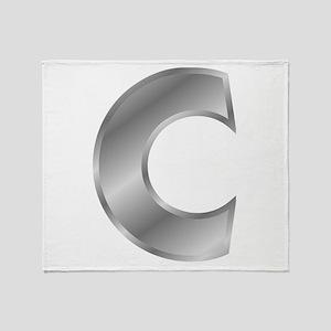 Silver Letter C Throw Blanket