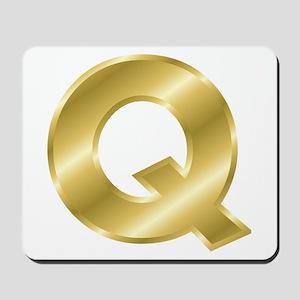 Gold Letter Q Mousepad