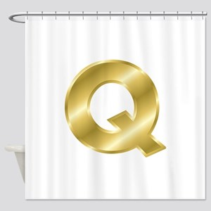 Gold Letter Q Shower Curtain