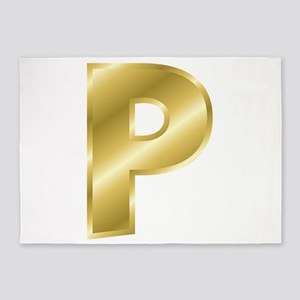 Gold Letter P 5'x7'Area Rug