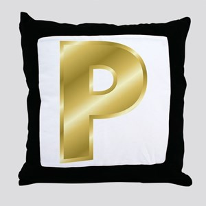 Gold Letter P Throw Pillow