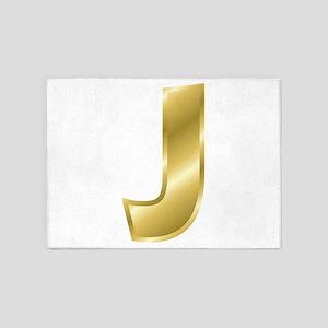 Gold Letter J 5'x7'Area Rug