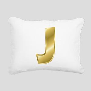 Gold Letter J Rectangular Canvas Pillow
