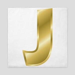Gold Letter J Queen Duvet