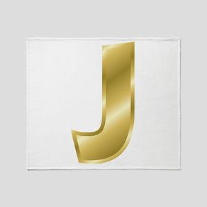 Gold Letter J Throw Blanket