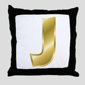 Gold Letter J Throw Pillow