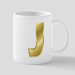 Gold Letter J Mugs