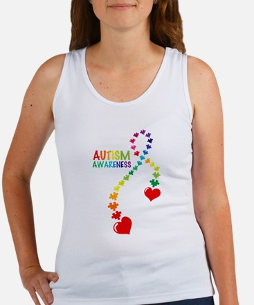 Autism Puzzle Ribbon Women's Tank Top