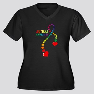 Autism Puzzl Women's Plus Size V-Neck Dark T-Shirt