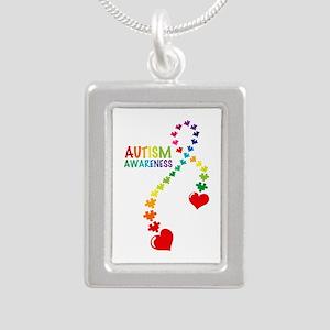 Autism Puzzle Ribbon Silver Portrait Necklace