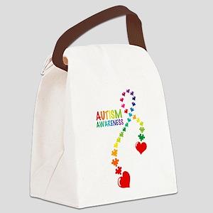 Autism Puzzle Ribbon Canvas Lunch Bag