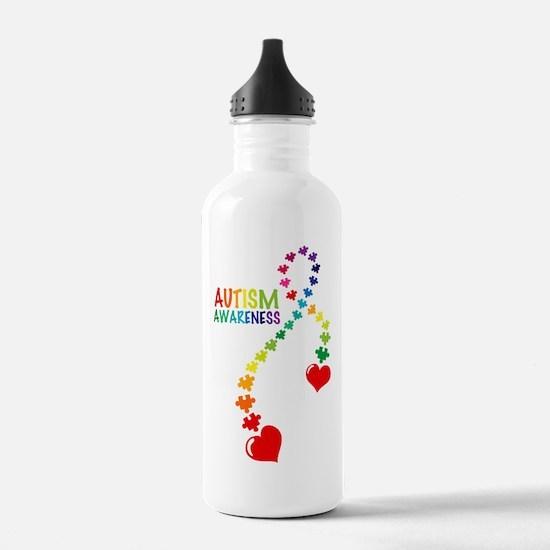 Autism Puzzle Ribbon Water Bottle
