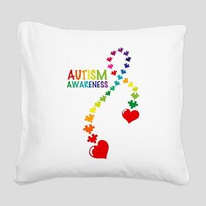 Autism Puzzle Ribbon Square Canvas Pillow