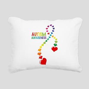 Autism Puzzle Ribbon Rectangular Canvas Pillow