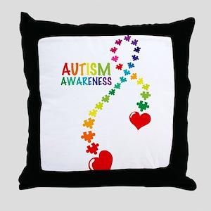 Autism Puzzle Ribbon Throw Pillow