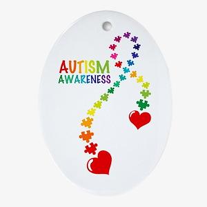 Autism Puzzle Ribbon Ornament (Oval)