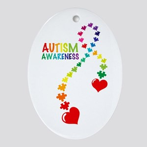 Autism Puzzle Ribbon Ornament (Oval)
