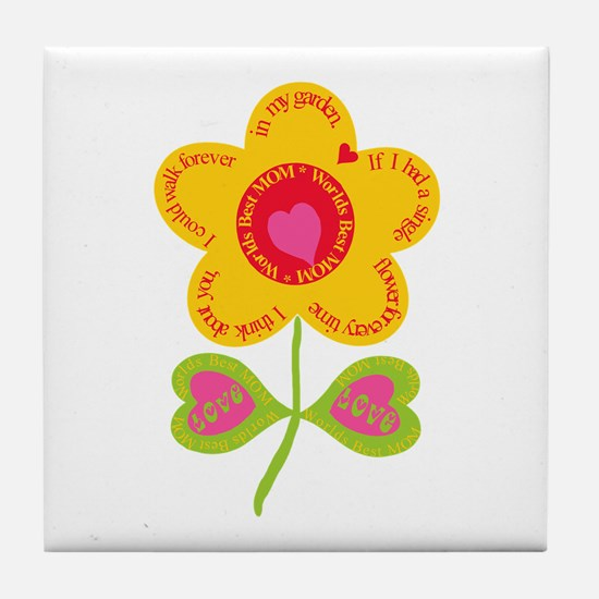 Mom Flower Garden Tile Coaster