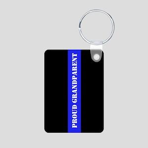 Police Thin Blue Line Aluminum Photo Keychains